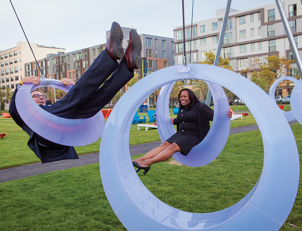 Curb'd  is  a unique spin on the idea of a tire swing.