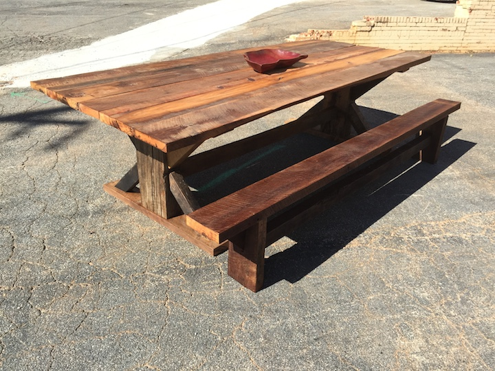 Rustic Dining Table w_ Bench.JPG