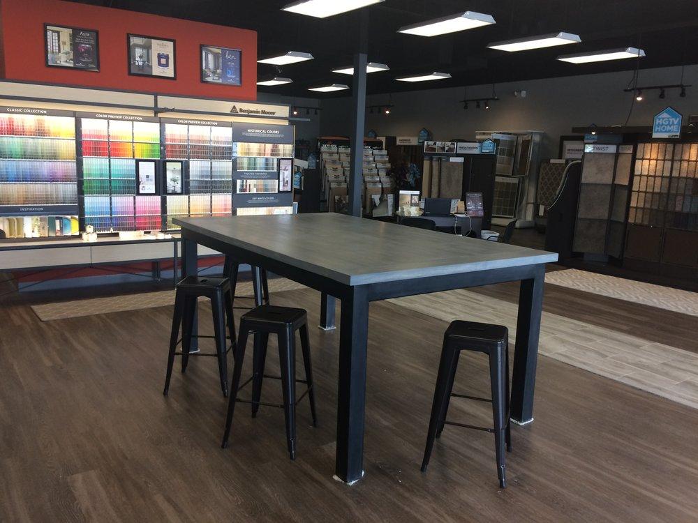 Custom Bar Height table design consultation table for Paint:Flooring Company. 8' x 5', steel base. 2%22 wood top.JPG