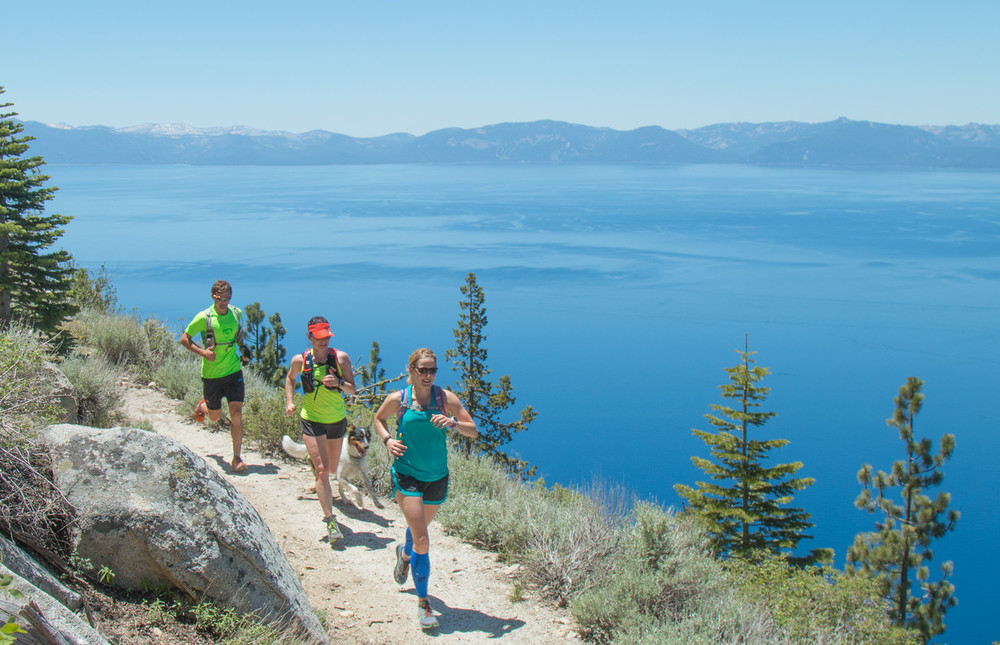 Tahoe Ultra Camp runners cruising the beautiful Flume Trail. Photo: Myke Hermsmeyer