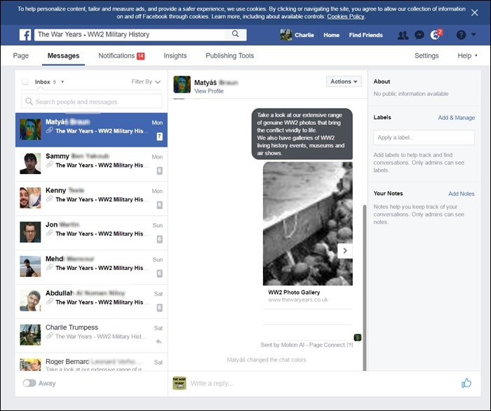 The War Years Facebook Messenger Page