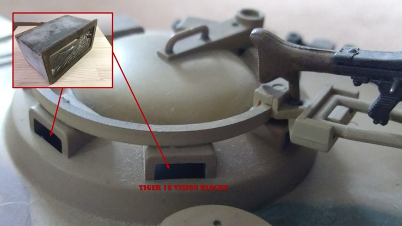 Tiger 1E model illustrates the commander's cupola and vision blocks
