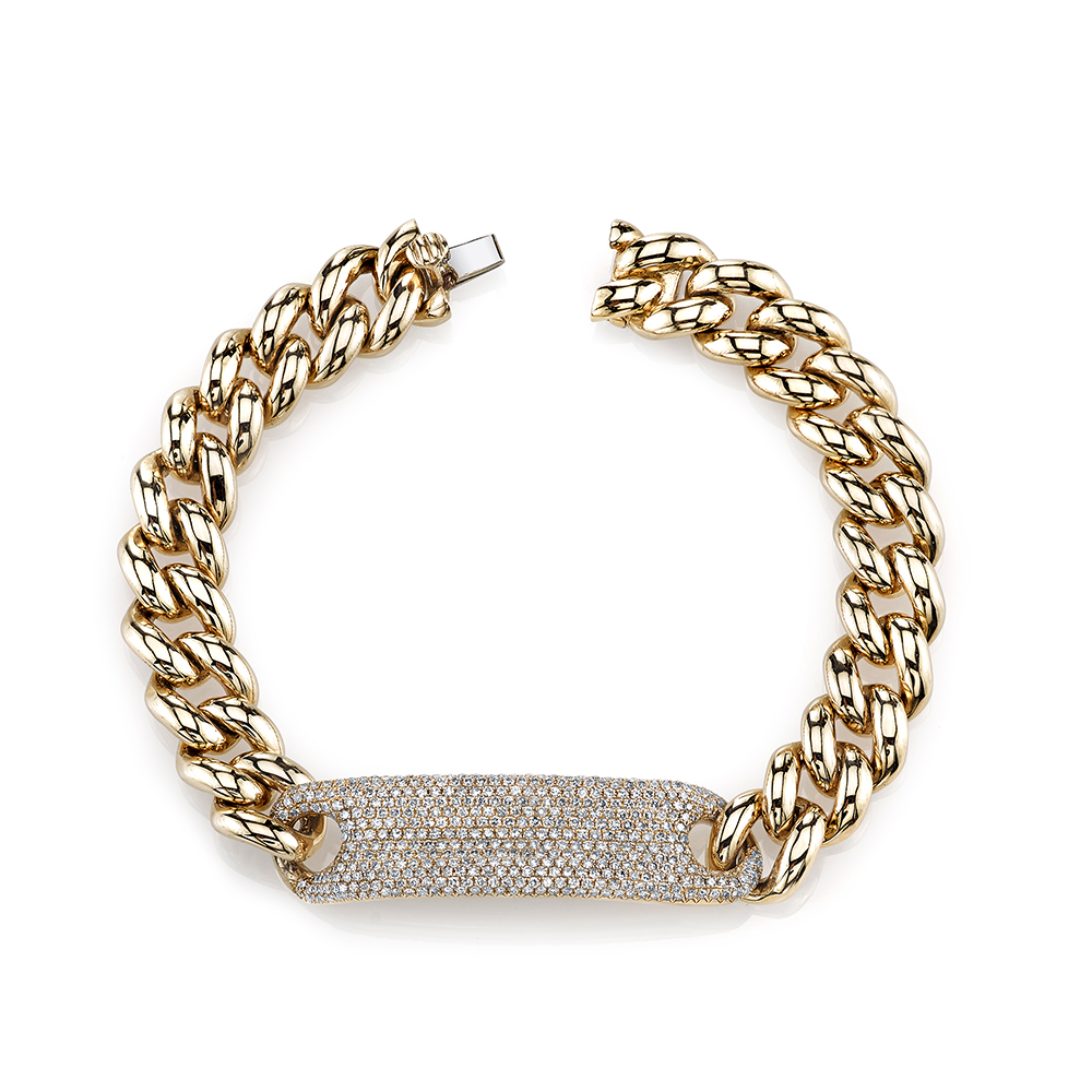 Yellow gold essential link bracelet with white diamonds Shay PCjFMVIZhw