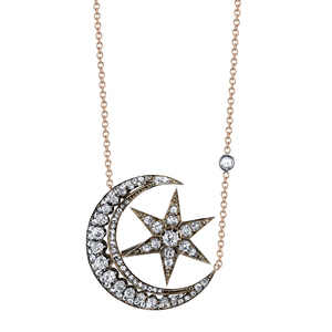 Necklaces shay fine jewelry victorian diamond cresent w moving diamond star victorian cresent moonstar necklace aloadofball Image collections