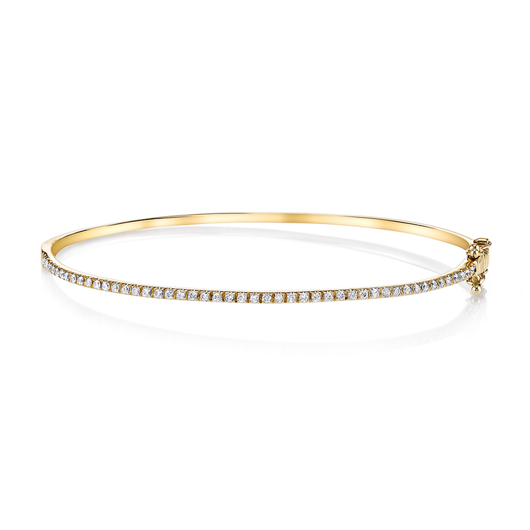 ESSENTIAL SINGLE ROW HALF DIAMOND BANGLE