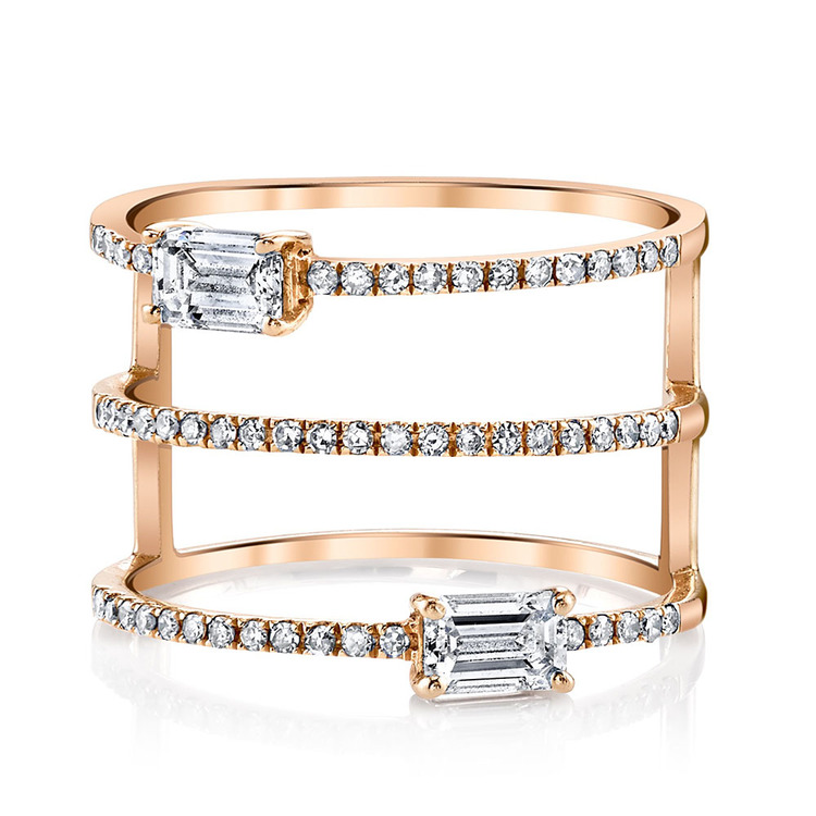 STACKED PAVE DIAMOND DOUBLE BAUGETTE RING
