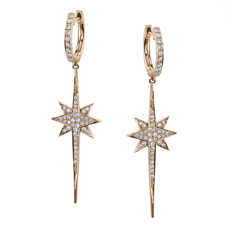 NORTH STAR PAVE DROP EARRINGS