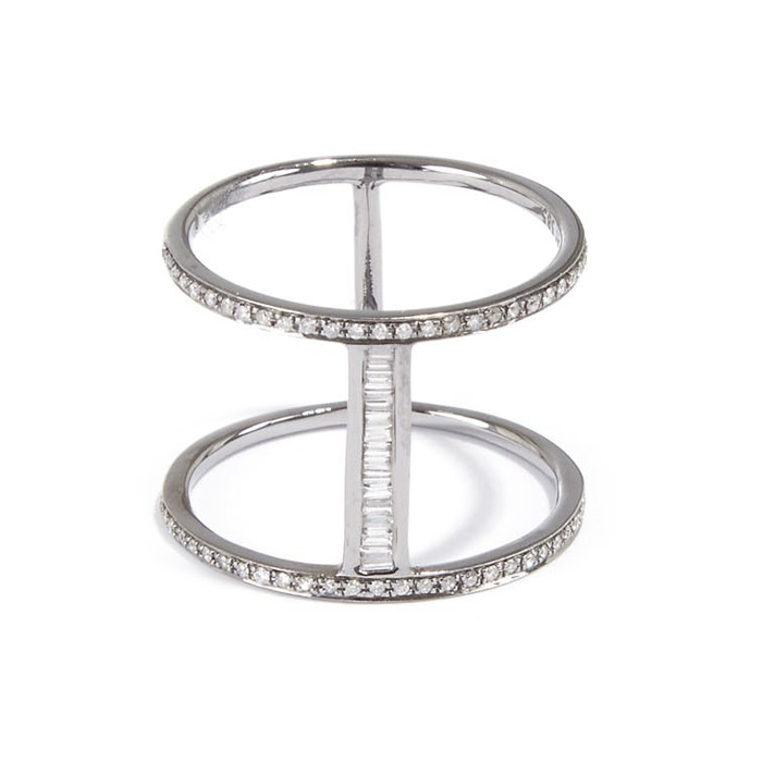 BAUGETTE DIAMOND H RING
