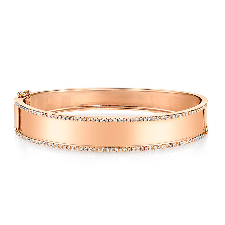 ESSENTIAL NAME PLATE BANGLE W/ DIAMOND TRIM