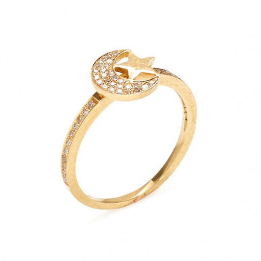 MINI PAVE DIAMOND MOON & STAR RING