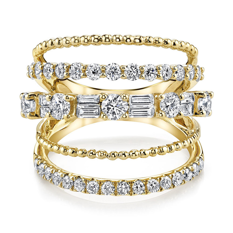 5 ROW CLOSED, MIXED DIAMOND RING