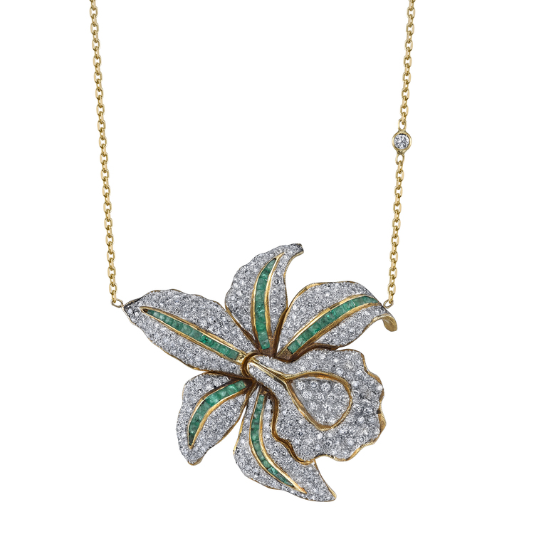 Email For Pricing Diamond Emerald Lotus Flower Necklace Shay