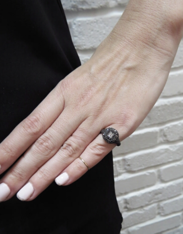 Black Engagement Ring On Hand