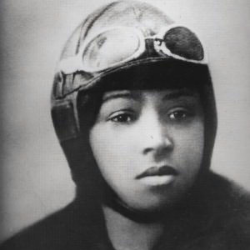 Janet Harmon Bragg with flight cap on