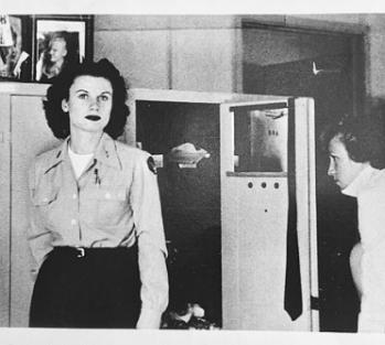 Two WASP women in locker room