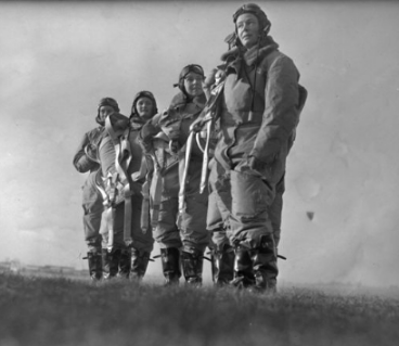 WASP women outside in flight gear
