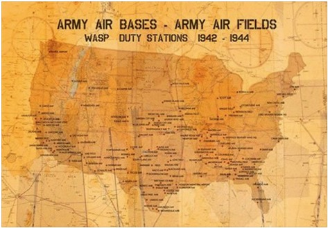 Army Air Bases and Fields Map 1042-44