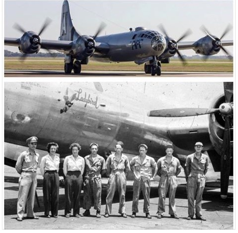 2 pics-B-29 on runway and B-29 with WASP and crew