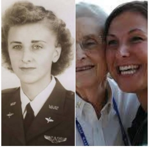 2 pics-Peral Brummett Judd in uniform and one with daughter