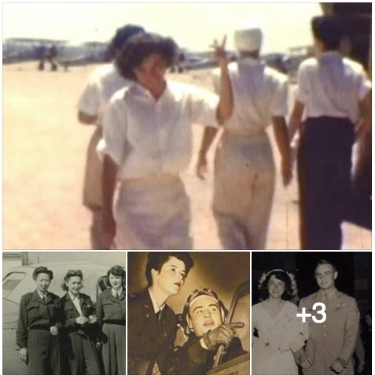 4 pics-Lee Jowell Hagerstrom waving on flightline, with other WASP in uniform, male pilot, and wedding day