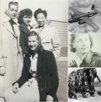 4 pics-Marie Ethel Sharon Cihler with other unknown people, WASP, airplane, her in unifrom