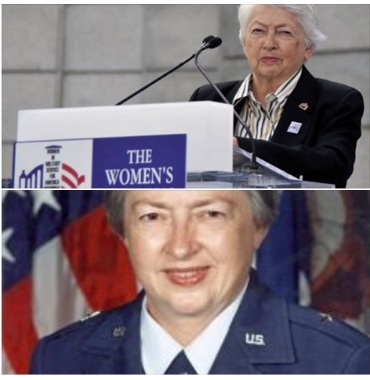 2 pics-Brig Gen Wilma L. Vaught at podium in business casual and one in uniform