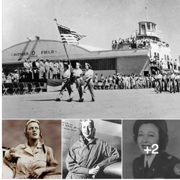 4 pics-hangar and marching formation and 3 WASP women