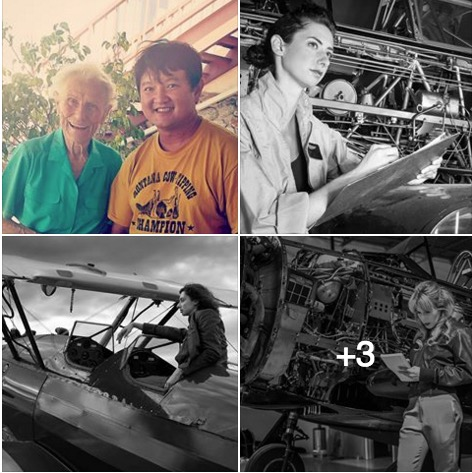 4 pics-Jerry Phan with WAFS and 3 of his photos of WASP re-enactments