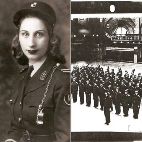 2 pics-Matia Karrell's mother in uniform and Massachusetts Women's Defense Core formation