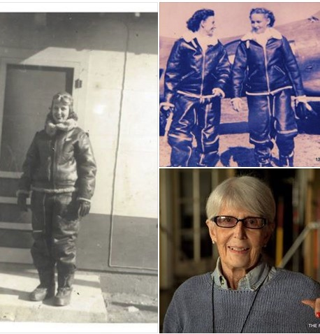 3 pics-Edna Davis, WASP in winter flight suit, and 2 WASP