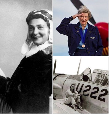 3 pics-Bee Haydu in flight suit, present day in uniform, saluting, and on airplane during wwII