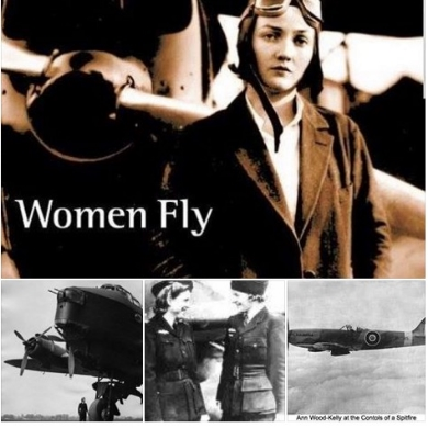 4 pics-WASP wearing flight cap in front of prop, bomber, 2 WASP women, flying aircraft