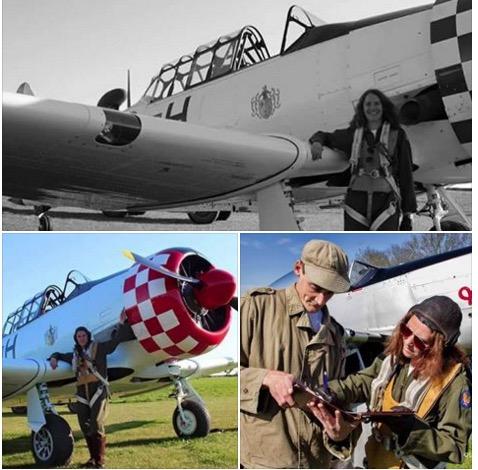 3 pics-Elaine Doonan reenacter wiht airplanes