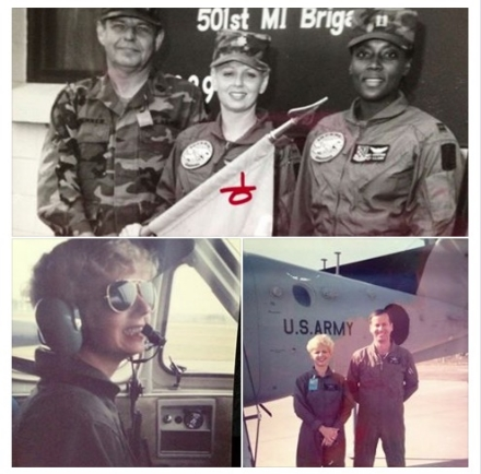 3 pics-Katie McKnight Moore with 2 other military members-in cockpit and outside airplane