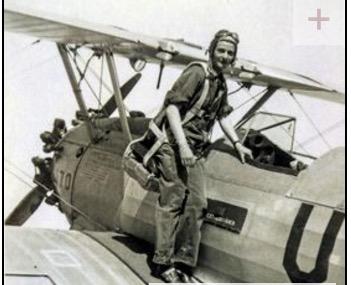 Bee Haydu on aircraft