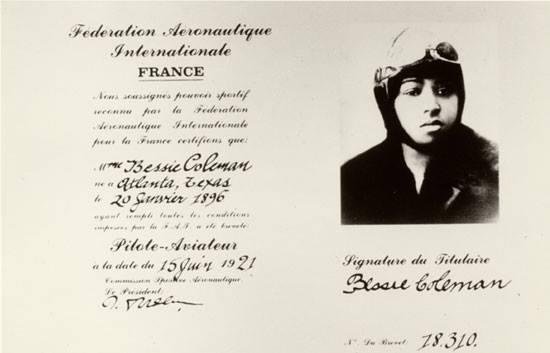 Bessie Coleman's international pilot license