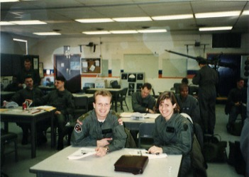My flight school stick buddy Anders and I in one of the many classes