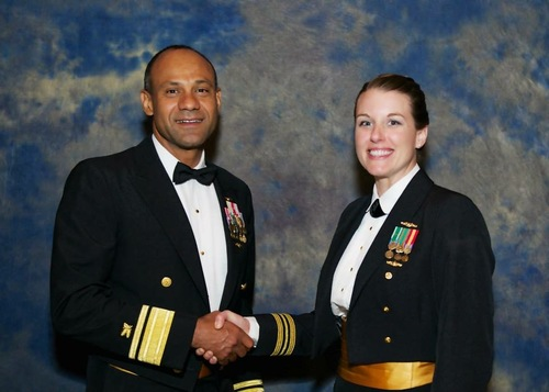 Lietenant Commander Krysten Ellis, U.S. Navy (right