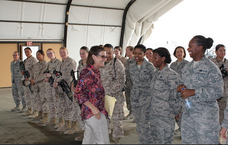 Meeting with female soldiers on Middle East congressional delegation trip, 2015 (photo credit McSally.gov)