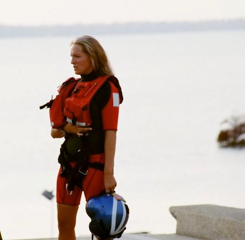 Sara Faulkner, the first woman graduate of the Coast Guard's Helicoper Rescue Swim School to serve as a Coast Guard rescue swimmer