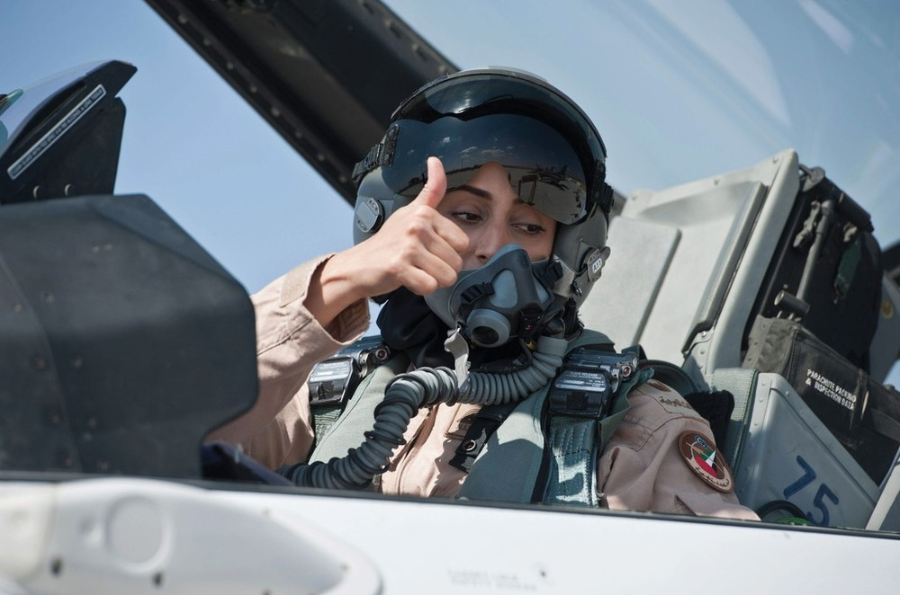 Mariam Al Mansouri (UAE). First UAE female pilot, led first strikes against ISIS.  (Photo credit: thenational.ae)