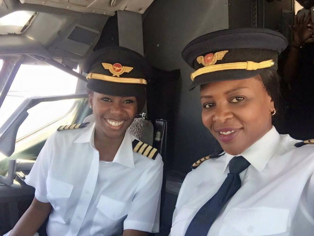 Captains Chipo M. Matimba & Elizabeth Simbi Petros (Zimbabwe). Pilot & Co-pilot of Zimbabwe's all-female flight crew (Photo credit: facebook)