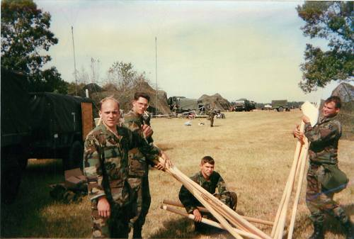 Soldiers in my first platoon at Ft. Bragg setting up camp for deployment to Ft. Hood, Texas