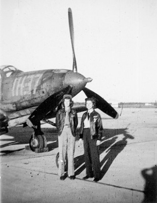 Edna Davis and her copilot