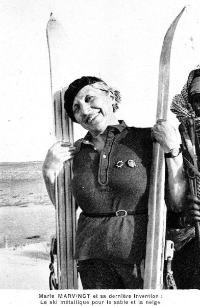 Years after inventing metal skis, Marie Marvingt poses with her invention.