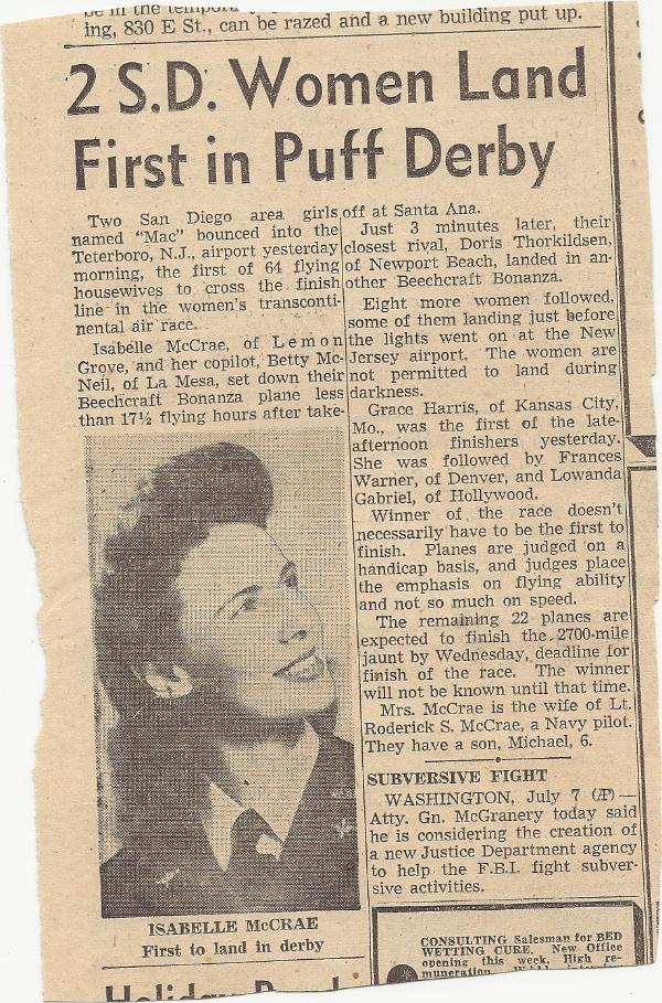 Newspaper article, San Diego, circa 1952