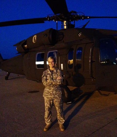 Captain Miranda Gahn with the UH-60 Blackhawk at Lunken Airport in Cincinnati. (Photo credit: MIranda Gahn)