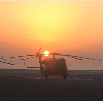 Sunrise in Kuwait before taking off in the Blackhawk. (Photo credit: Miranda Gahn)