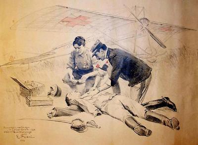 Marie's proposed air ambulance as drawn by artist Emile Friant