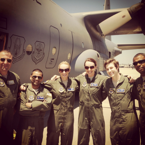 Major Doran's (third from right) final flight in the C-130 Hercules before she transitioned to being a T-6 instructor.  (Photo credit: Krysta Doran)